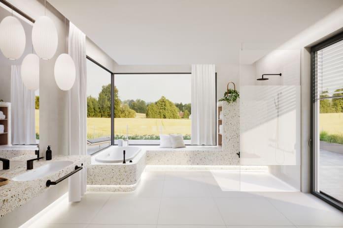 Barrierefreies Bad mit Badewanne, Dusche und Waschbecken von KALDEWEI